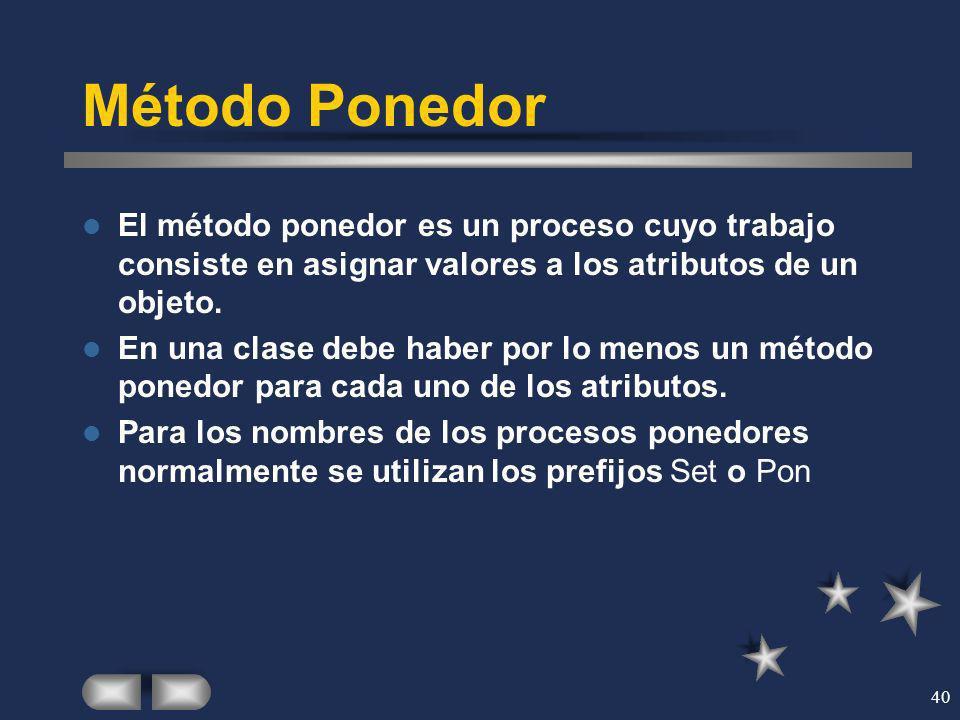 Método Ponedor El método ponedor es un proceso cuyo trabajo consiste en asignar valores a los atributos de un objeto.