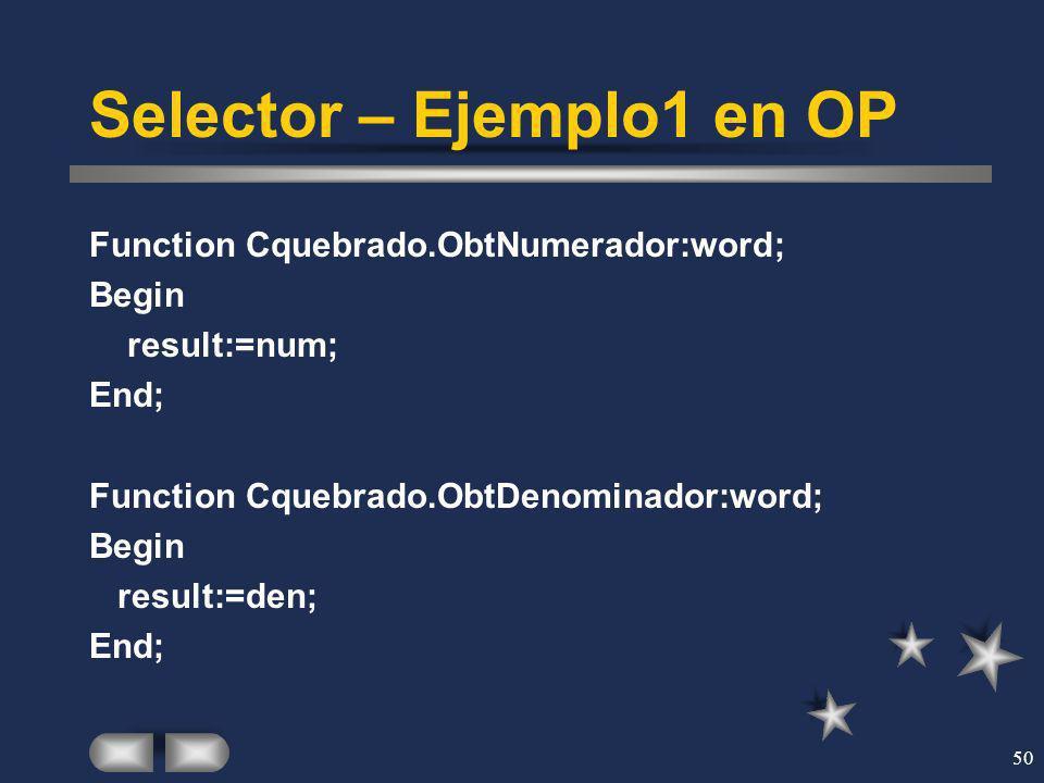Selector – Ejemplo1 en OP