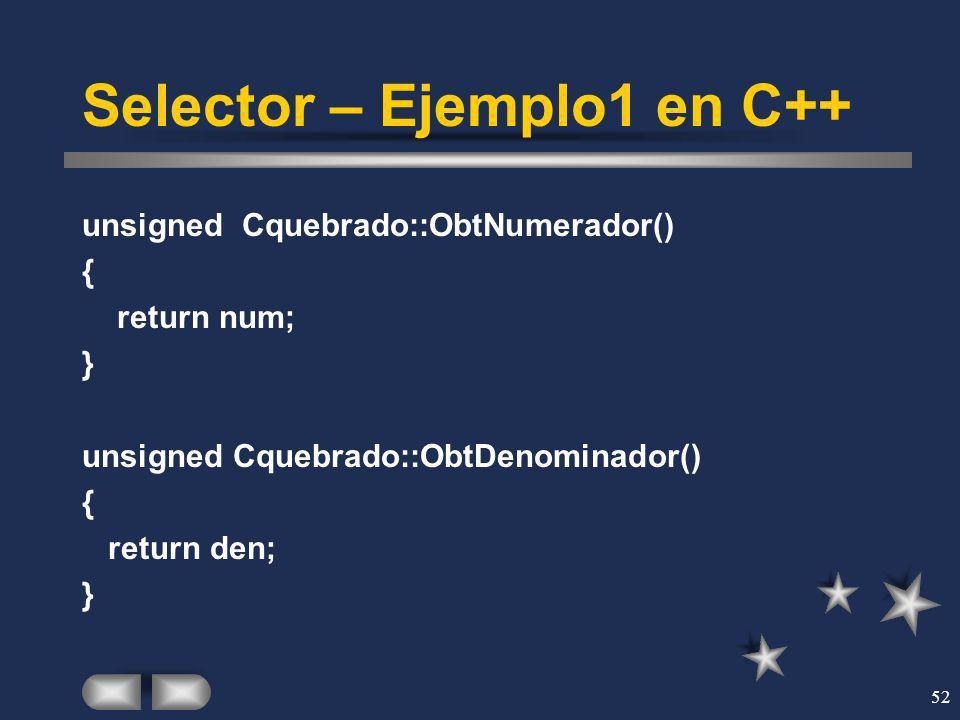 Selector – Ejemplo1 en C++