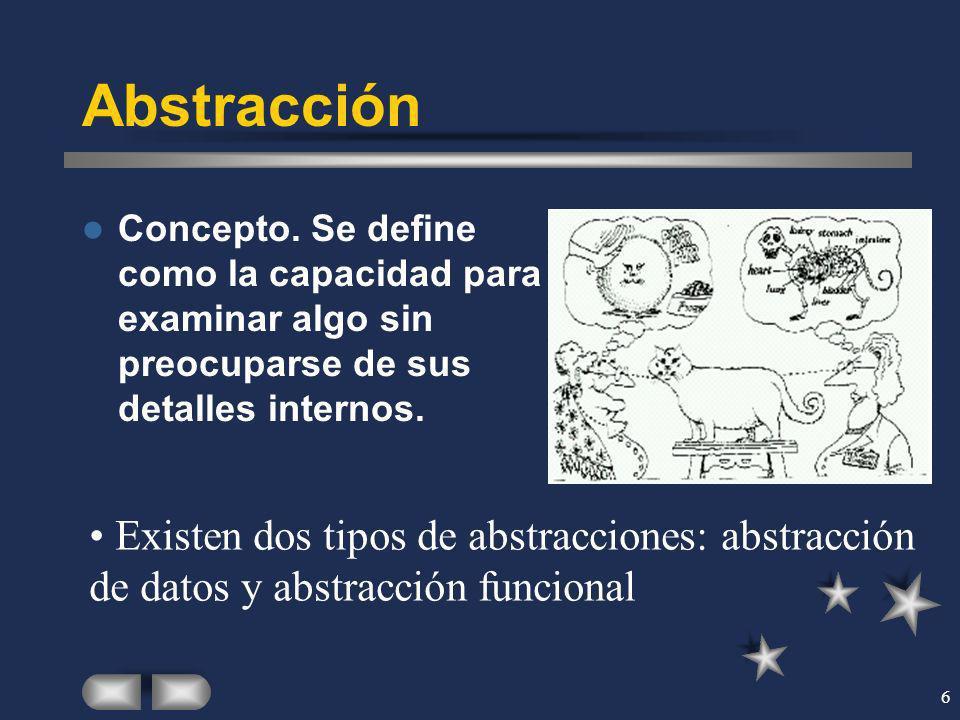 Abstracción Concepto. Se define como la capacidad para examinar algo sin preocuparse de sus detalles internos.
