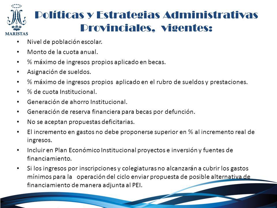 Políticas y Estrategias Administrativas Provinciales, vigentes: