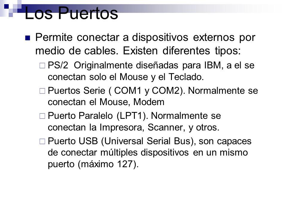 Los Puertos Permite conectar a dispositivos externos por medio de cables. Existen diferentes tipos: