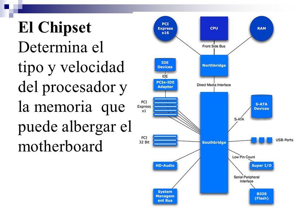 El Chipset Determina el tipo y velocidad del procesador y la memoria que puede albergar el motherboard