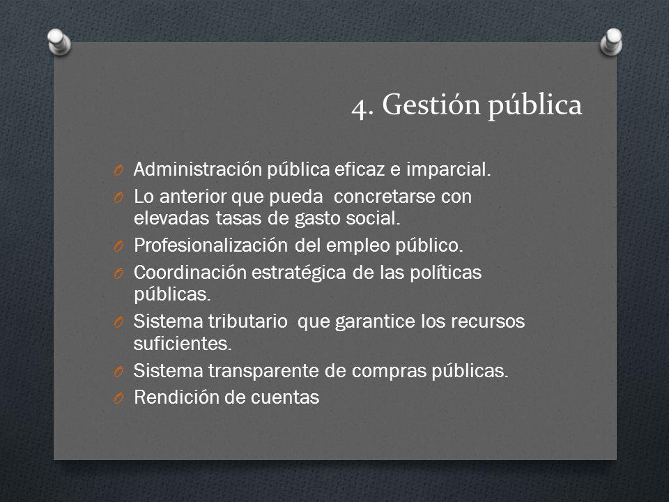 4. Gestión pública Administración pública eficaz e imparcial.