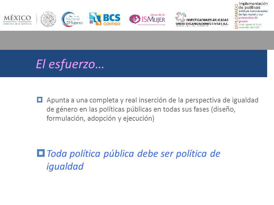El esfuerzo… Toda política pública debe ser política de igualdad