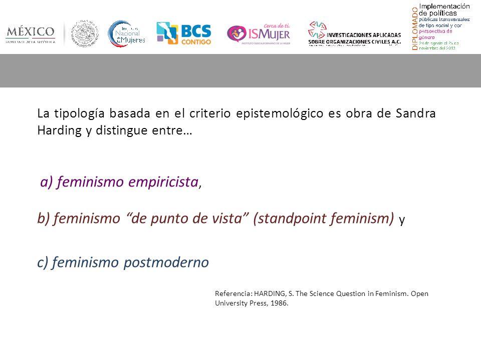 b) feminismo de punto de vista (standpoint feminism) y