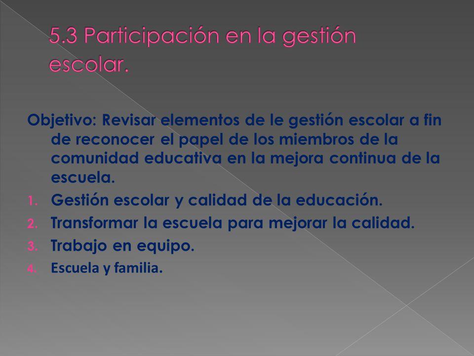 5.3 Participación en la gestión escolar.