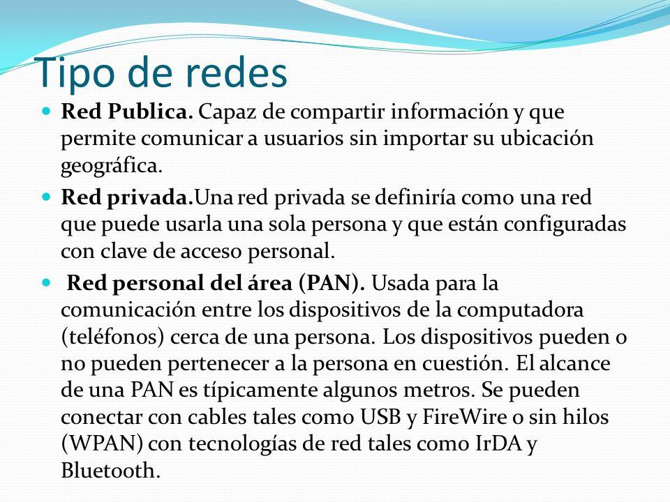 Tipo de redes Red Publica. Capaz de compartir información y que permite comunicar a usuarios sin importar su ubicación geográfica.