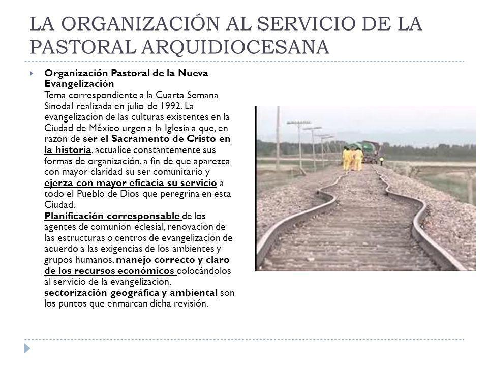 LA ORGANIZACIÓN AL SERVICIO DE LA PASTORAL ARQUIDIOCESANA