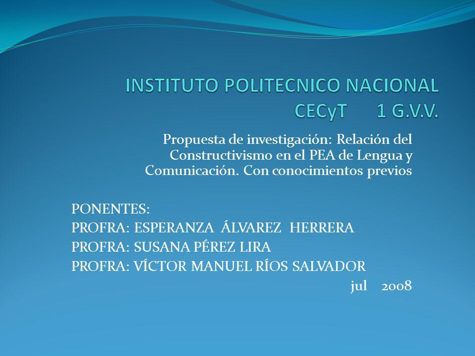 INSTITUTO POLITECNICO NACIONAL CECyT 1 G.V.V.