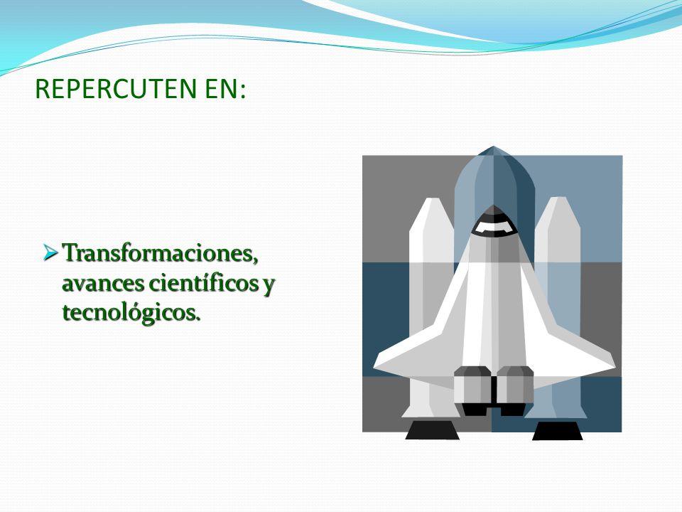 REPERCUTEN EN: Transformaciones, avances científicos y tecnológicos.