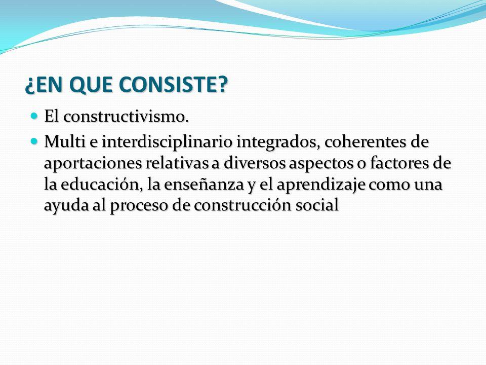 ¿EN QUE CONSISTE El constructivismo.