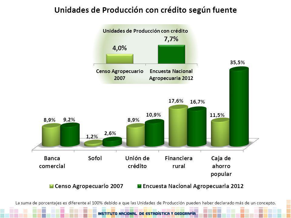 Unidades de Producción con crédito según fuente