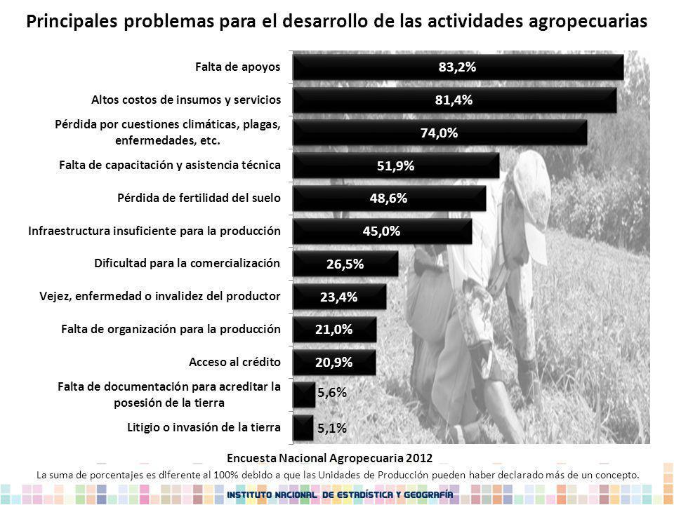 Principales problemas para el desarrollo de las actividades agropecuarias