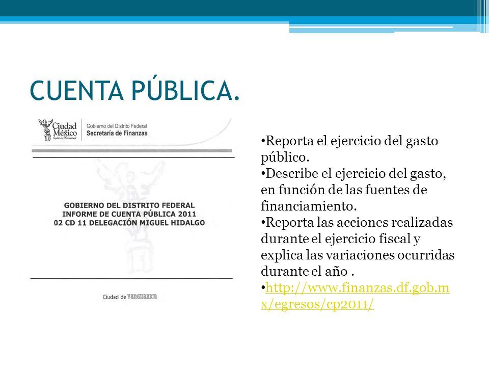 CUENTA PÚBLICA. Reporta el ejercicio del gasto público.