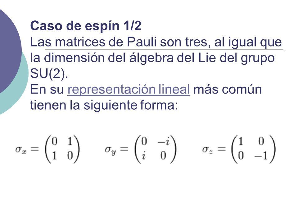 Caso de espín 1/2 Las matrices de Pauli son tres, al igual que la dimensión del álgebra del Lie del grupo SU(2).