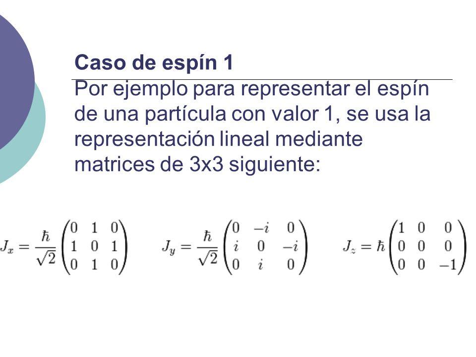 Caso de espín 1 Por ejemplo para representar el espín de una partícula con valor 1, se usa la representación lineal mediante matrices de 3x3 siguiente: