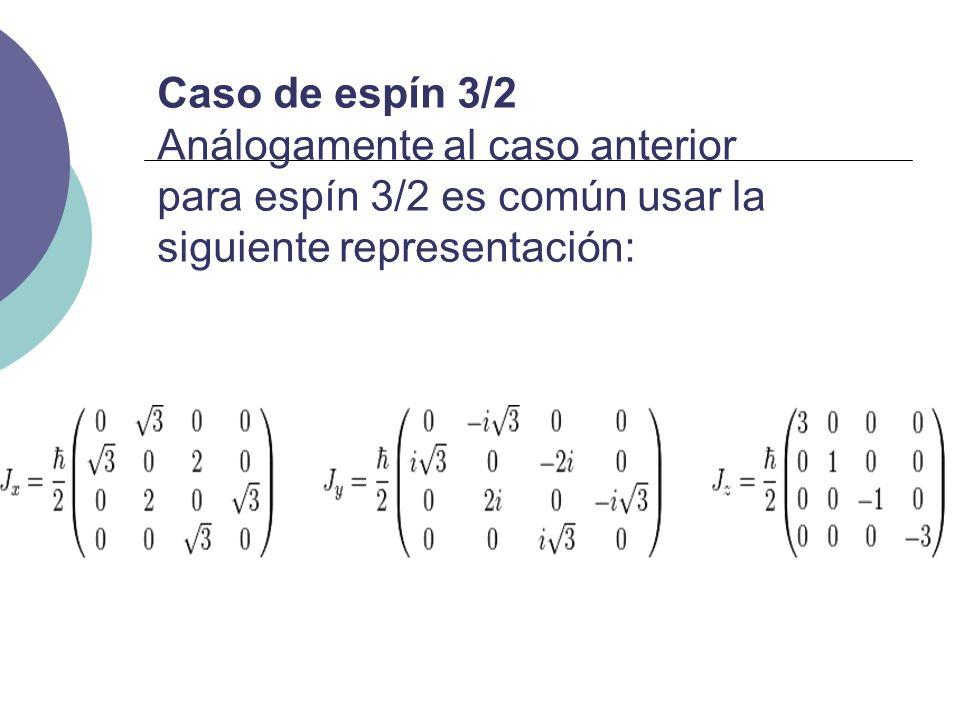 Caso de espín 3/2 Análogamente al caso anterior para espín 3/2 es común usar la siguiente representación: