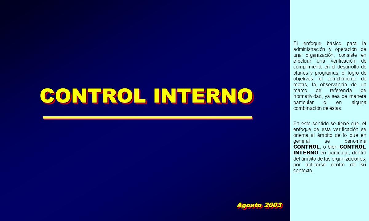 CONTROL INTERNO Agosto 2003