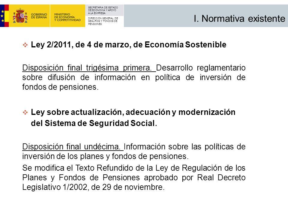 I. Normativa existente Ley 2/2011, de 4 de marzo, de Economía Sostenible.