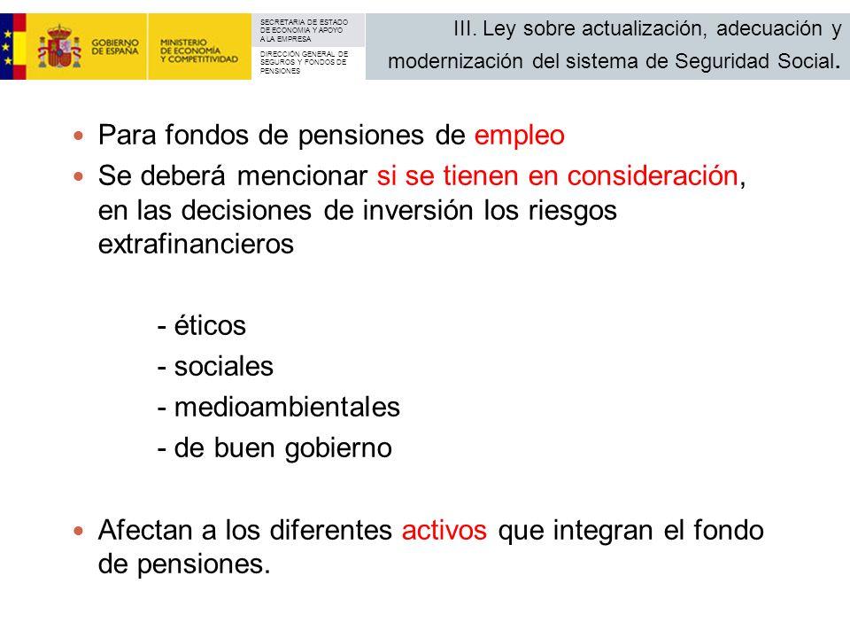 Para fondos de pensiones de empleo