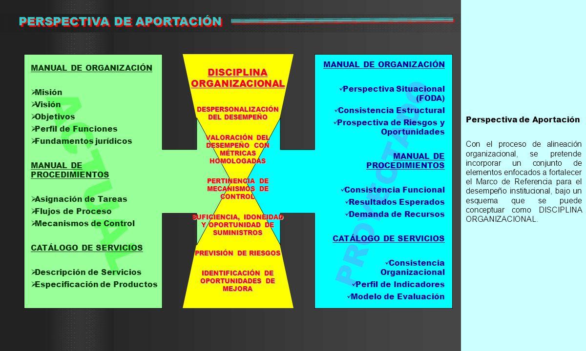 ACTUAL PROYECTADO PERSPECTIVA DE APORTACIÓN DISCIPLINA ORGANIZACIONAL