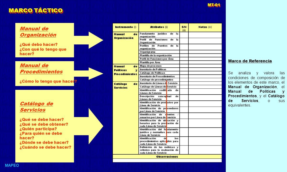 MARCO TÁCTICO Manual de Organización Manual de Procedimientos