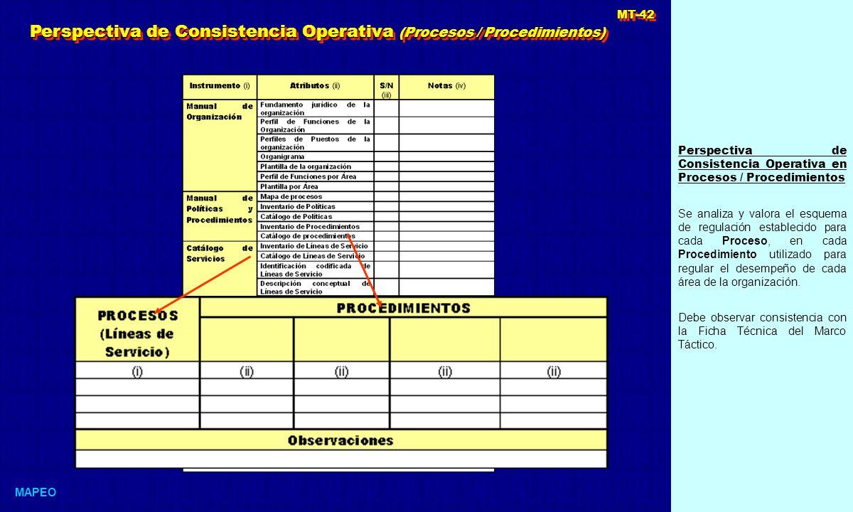 Perspectiva de Consistencia Operativa (Procesos / Procedimientos)