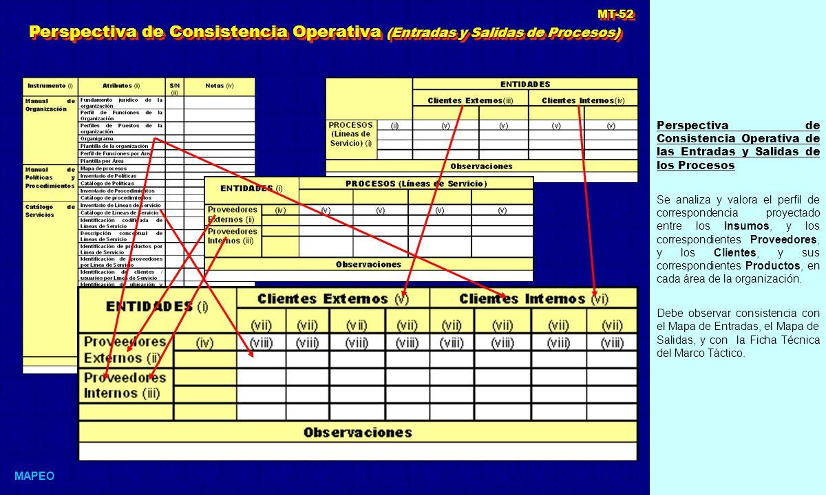 Perspectiva de Consistencia Operativa (Entradas y Salidas de Procesos)