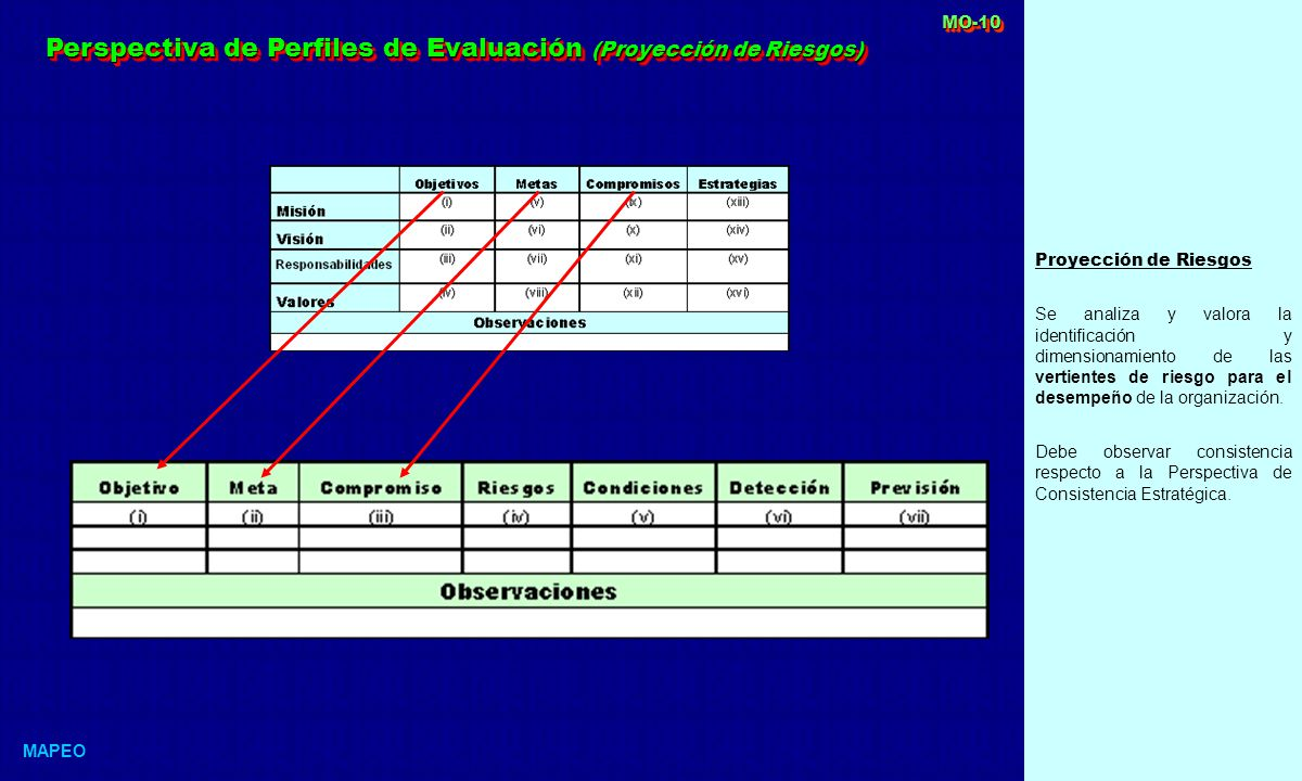 Perspectiva de Perfiles de Evaluación (Proyección de Riesgos)