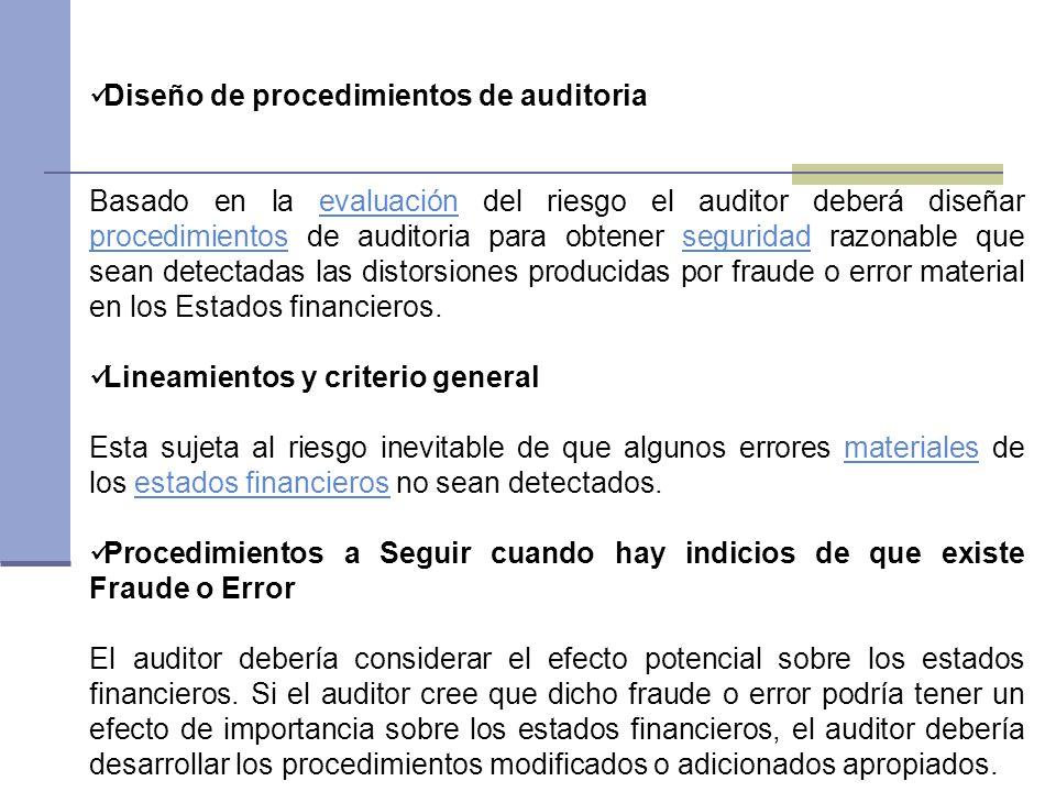 Diseño de procedimientos de auditoria