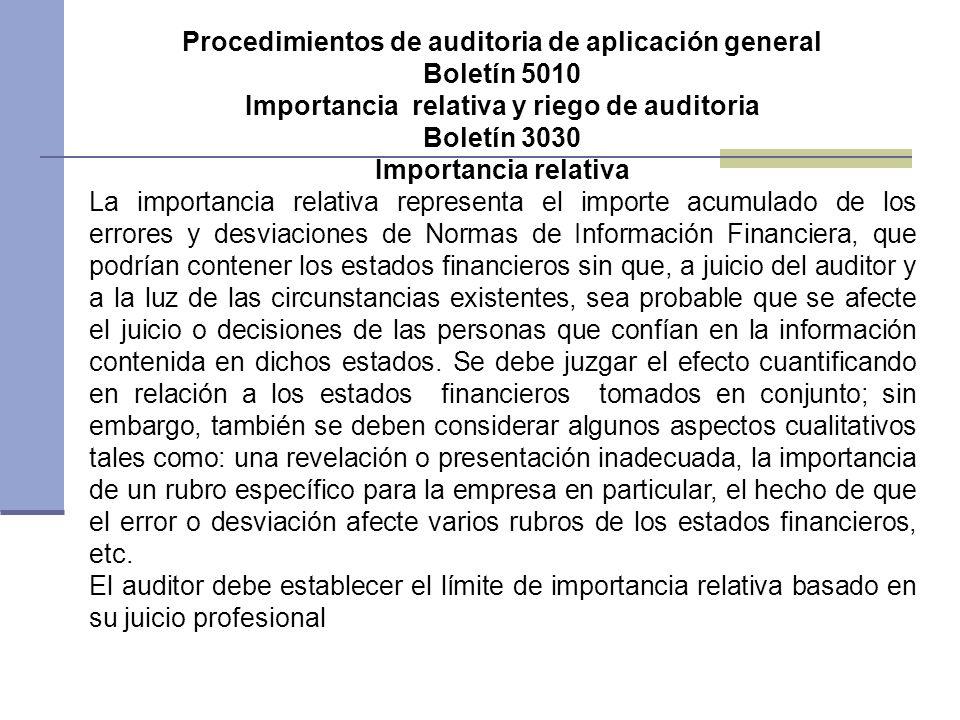 Procedimientos de auditoria de aplicación general Boletín 5010