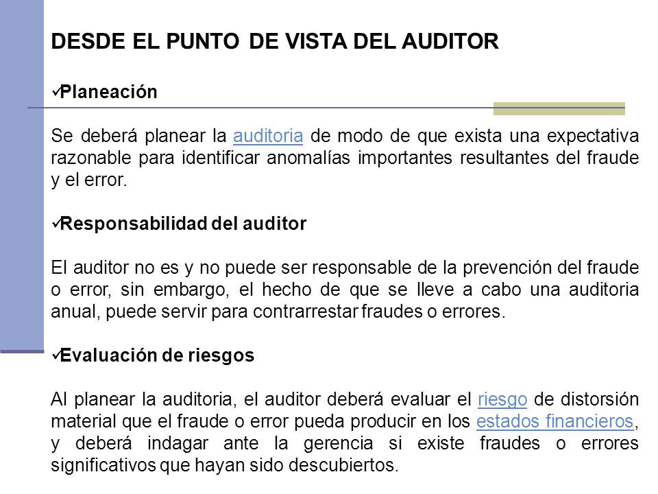 DESDE EL PUNTO DE VISTA DEL AUDITOR