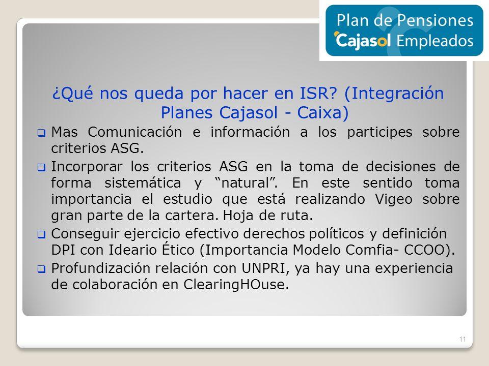 ¿Qué nos queda por hacer en ISR (Integración Planes Cajasol - Caixa)