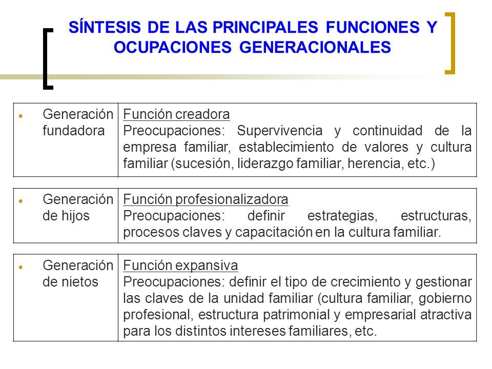 SÍNTESIS DE LAS PRINCIPALES FUNCIONES Y OCUPACIONES GENERACIONALES