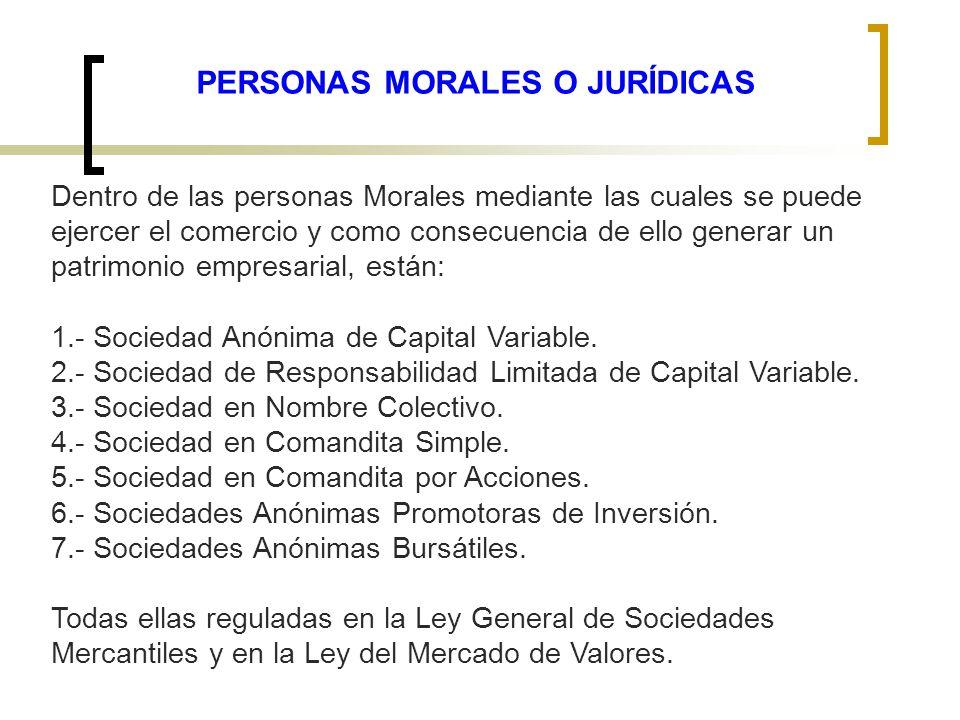 PERSONAS MORALES O JURÍDICAS