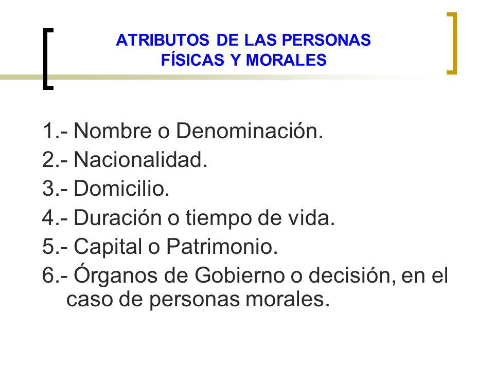 ATRIBUTOS DE LAS PERSONAS FÍSICAS Y MORALES