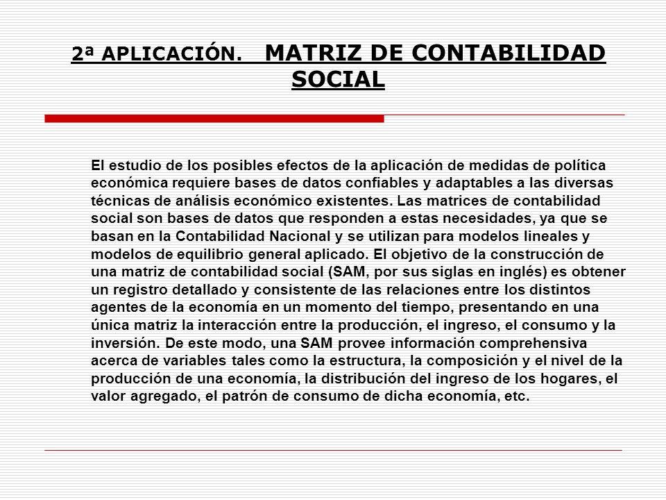 2ª APLICACIÓN. MATRIZ DE CONTABILIDAD SOCIAL