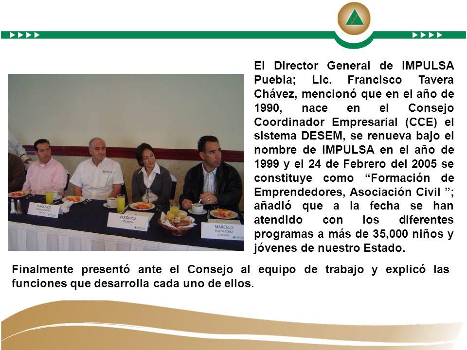 El Director General de IMPULSA Puebla; Lic