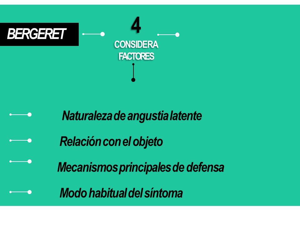 4 BERGERET Naturaleza de angustia latente Relación con el objeto
