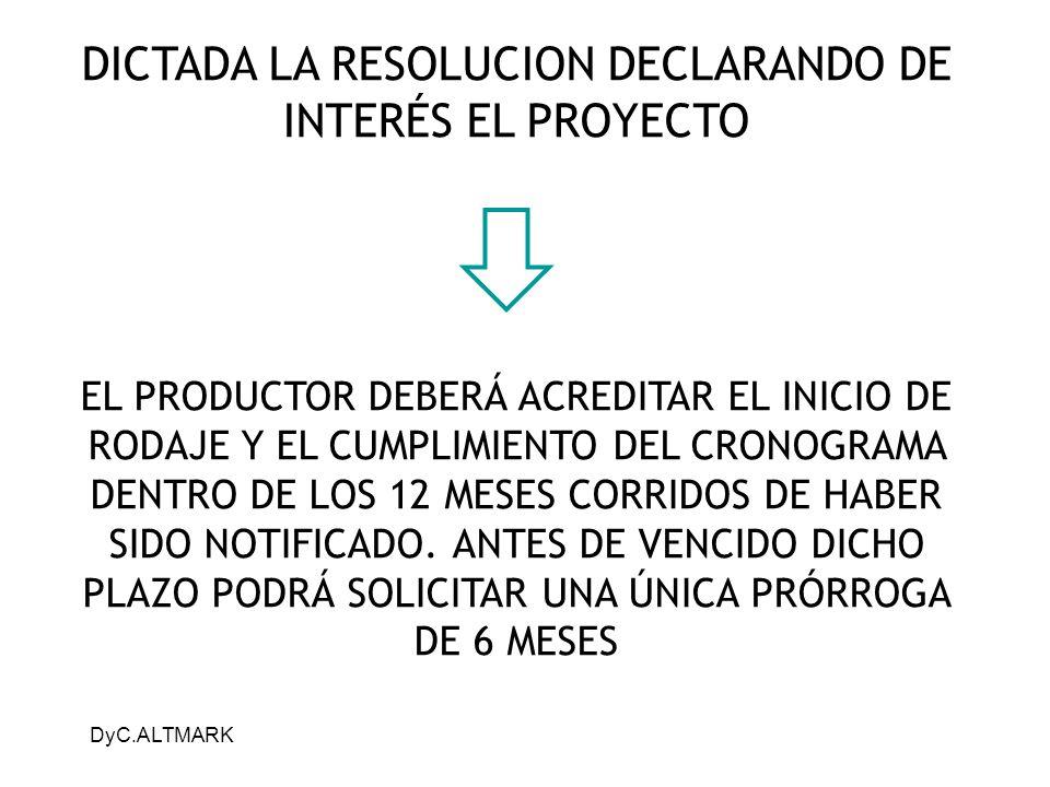 DICTADA LA RESOLUCION DECLARANDO DE INTERÉS EL PROYECTO