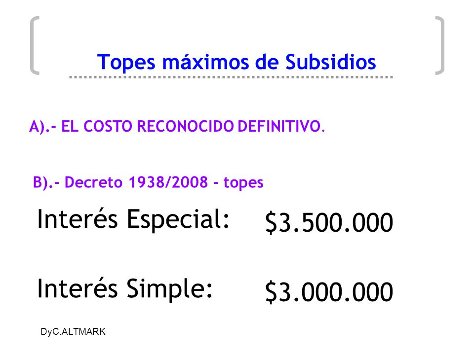 Topes máximos de Subsidios