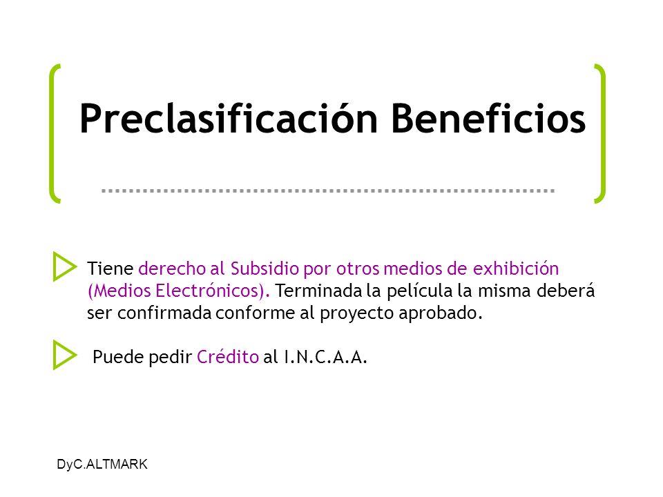 Preclasificación Beneficios