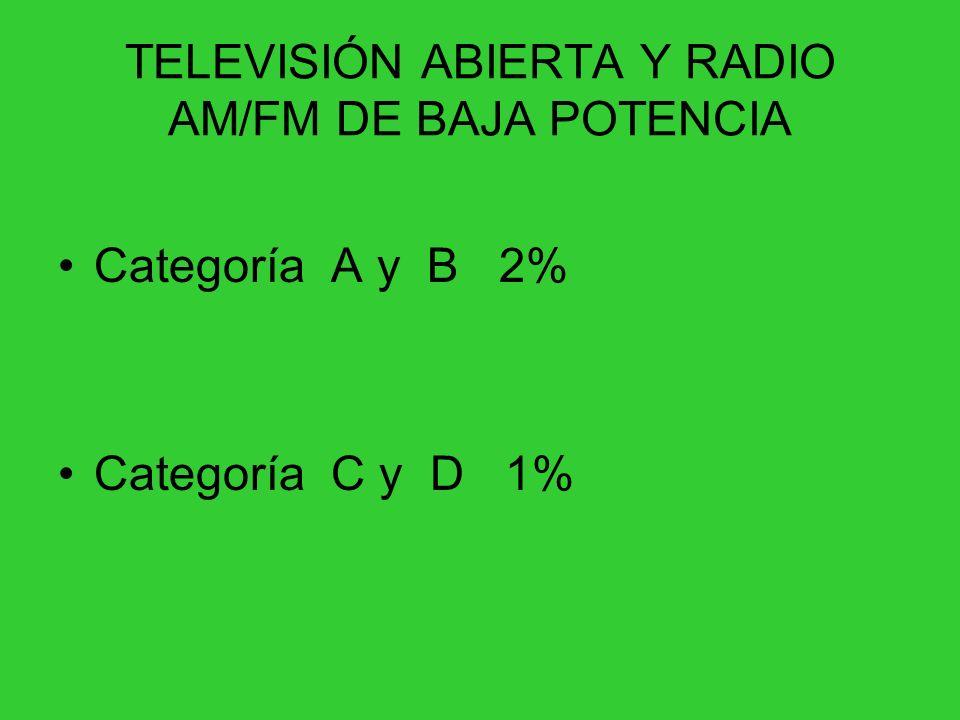 TELEVISIÓN ABIERTA Y RADIO AM/FM DE BAJA POTENCIA