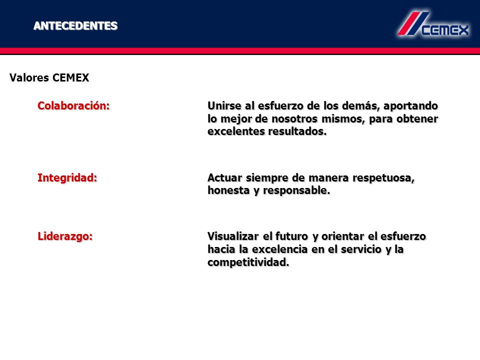 ANTECEDENTES Valores CEMEX.