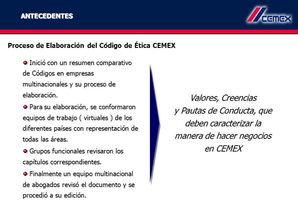 ANTECEDENTES Proceso de Elaboración del Código de Ética CEMEX.