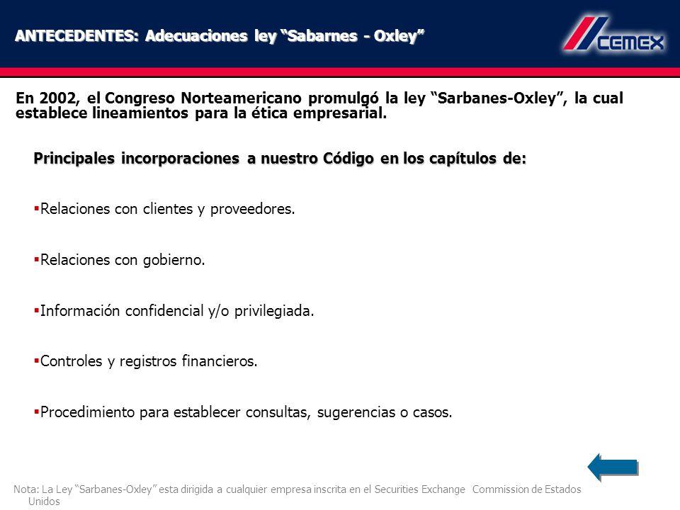 ANTECEDENTES: Adecuaciones ley Sabarnes - Oxley