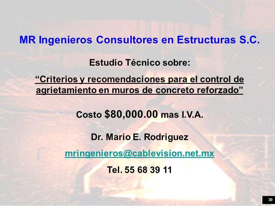 MR Ingenieros Consultores en Estructuras S.C. Estudio Técnico sobre: