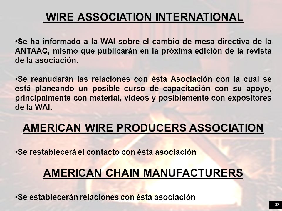 AMERICAN WIRE PRODUCERS ASSOCIATION AMERICAN CHAIN MANUFACTURERS