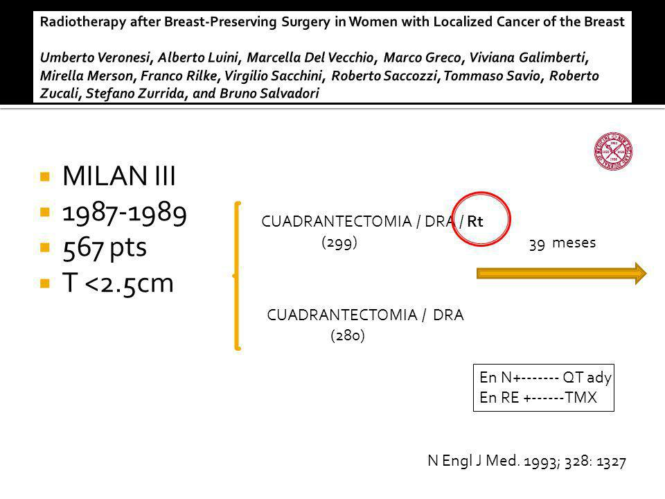 MILAN III 1987-1989 567 pts T <2.5cm CUADRANTECTOMIA / DRA / Rt